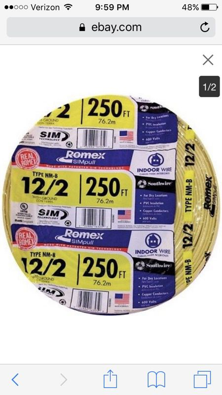 Brand new 12-2 250 Romex wire (Tools & Machinery) in Memphis, TN