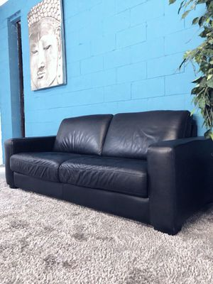 ***Black Genuine Leather Sofa (Free Delivery)