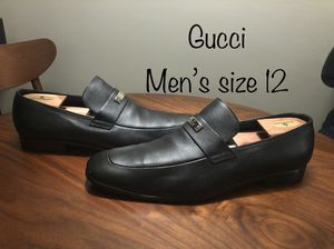 GUCCI Black Leather Loafers men's size 12