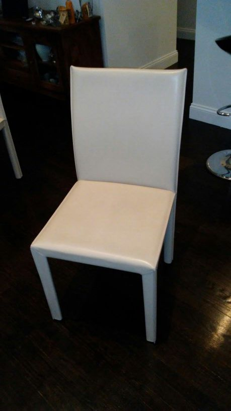 Crate And Barrel Folio Allure Sand Leather Dining Chairs X6 Furniture In Boston MA