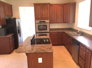 Wood counter tops with cook top and sink