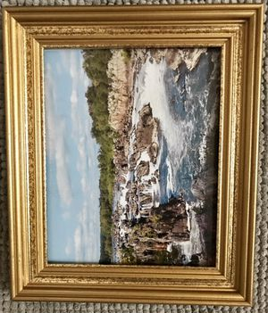Rapids at Great Falls Park Virginia with Vintage gold frame