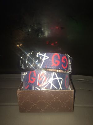 Gucci blue with white stars belt