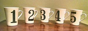 Rosanna Numbered Drinking Mugs w/ Handles 1-5 Size 10 oz.