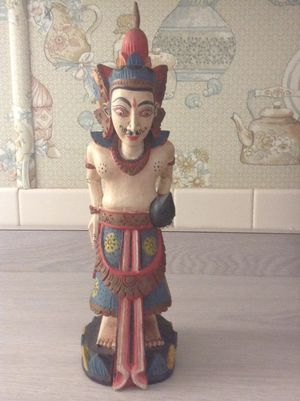 Thailand Hand Painted Wood Carved Statue
