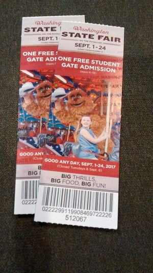 2 Student (ages 6-18 years) tickets for admission to Puyallup Washington state fair good through 9/24