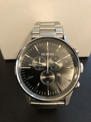 New Nixon Sentry Chrono Silver Black Watch A386-000