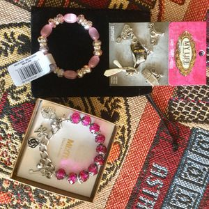 Jewelry - Fun accessories to chose from / My LIFE Charms $15 , Soft pink + crystals fashion bracelets $ 10 / Mix It charm bracelet in box $20