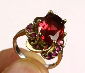 925 Sterling Silver, Turkish Handmade Ruby Topaz, Ring Size 8,6