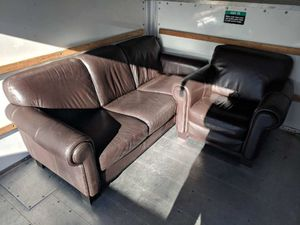 Brown Leather Sofa and Chair Set