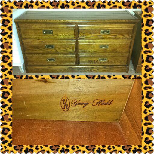 Young Hinkle Solid Dark Oak 6 Drawer Long Dresser