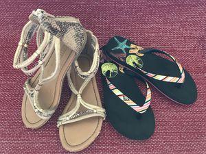 ROXY flip flops and gladiator sandals Girls Size 13