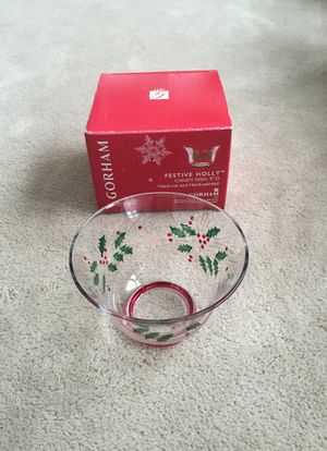 New in box Gorham festive holly hand painted candy dish