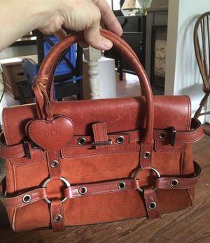 LUELLA GISELE BAG orange leather and cordoroy Satchel Handbag Purse