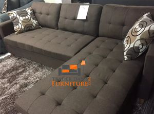 Brand New Chocolate Blended Linen Reversible Sectional Sofa + 2 Accent Pillows