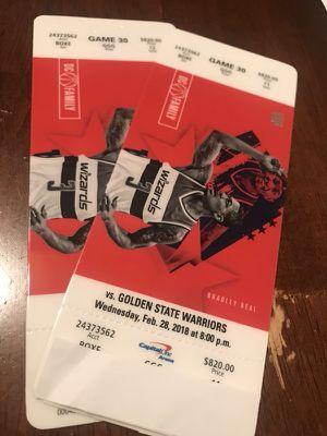 Wizards vs. GS Warriors VIP (2) Tickets - 2/28/18