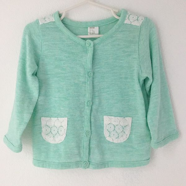 H&M baby girl green lace cardigan sz 9-12 months (Baby & Kids) in ...