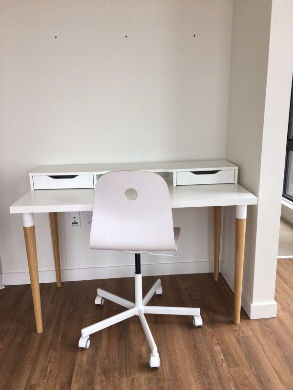 Ikea linnmon hilver desk w alex drawer unit and swivel for Ikea portant
