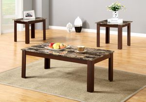 Brand New 3 Piece Faux Marble Coffee Table Set