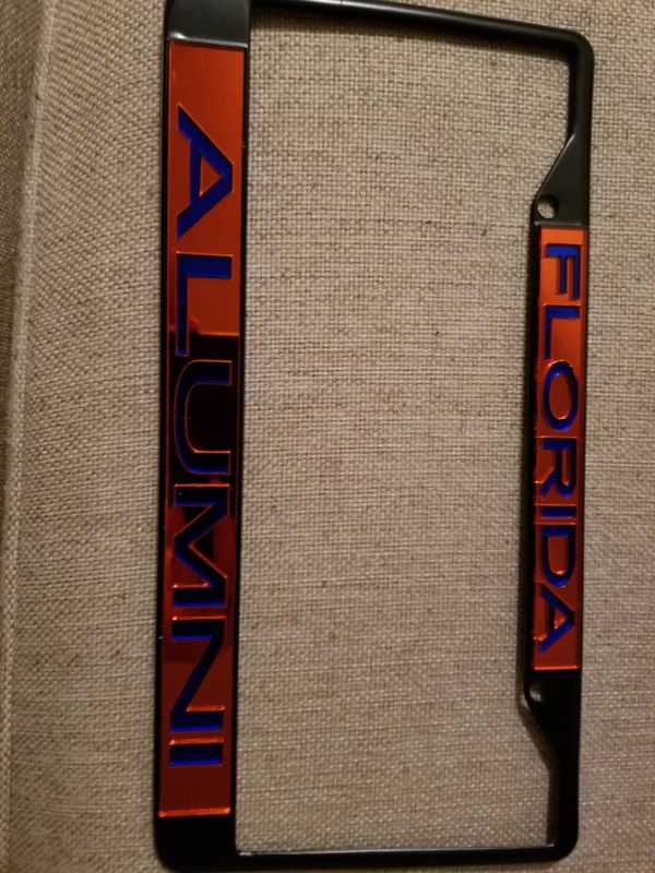 Florida Gators Alumni Black License plate frame orange with blue ...