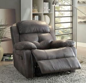 59466 Ashe Gray Polished Microfiber Recliner Chair