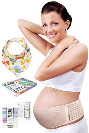 Maternity belt plus baby bib by healthysam - breathable belly band - lower back and pelvic support - comfortable pregnancy belt for belly - one size