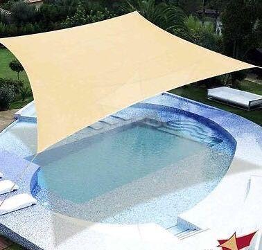 New 18x18 Outdoor Patio Sun Shade Sail Tarp Tent Canopy Gazebo Block Anchor Ropes Included