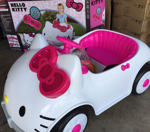 brand new hello kitty car power wheels electric kids ride on cars