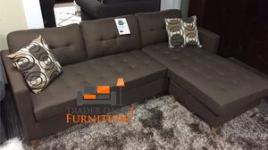 Brand new brown linen sectional with ottoman