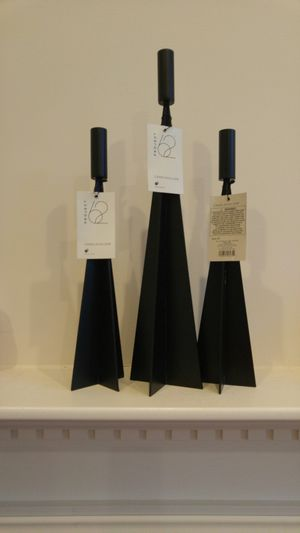 3 New with tags taper angular candle holders in black
