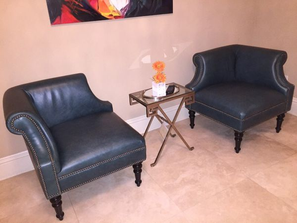 Caroline LT/RT leather corner chairs, teal (Furniture) in Windermere ...