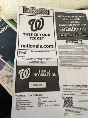 One Nationals opening day standing room only ticket