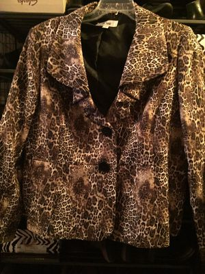 Ladies Le Suit Jacket Leopard Print Size 16