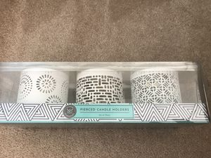 Modern Expressions Pierced Candle Holders Set of Three White Ceramic 3.1 inches