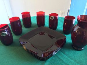 20 Piece Red Glassware