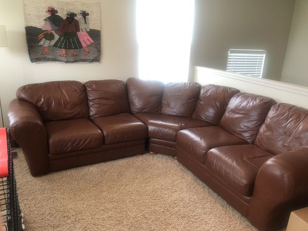 Brown leather couch Furniture in Fraser MI OfferUp