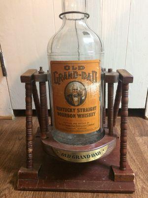 Rare Vintage Old Grand-Dad Bottle with Wood Tilt Display Stand Bourbon Whiskey