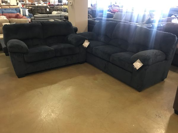 Navy Blue Microfiber Sofa & Loveseat By Ashley (Furniture) in ...