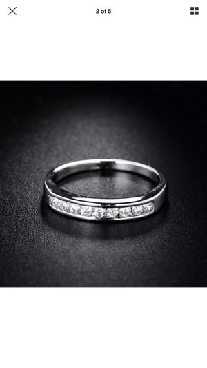18k white gold filled channel-set round cut simulated rung size 5