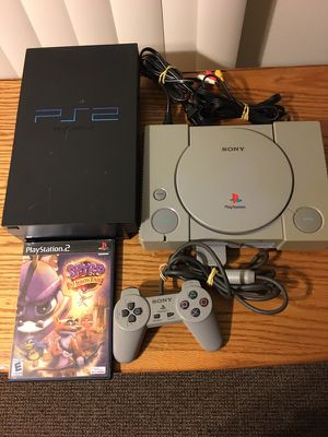 PlayStation 1 and 2, with ps2 game and ps1 controller