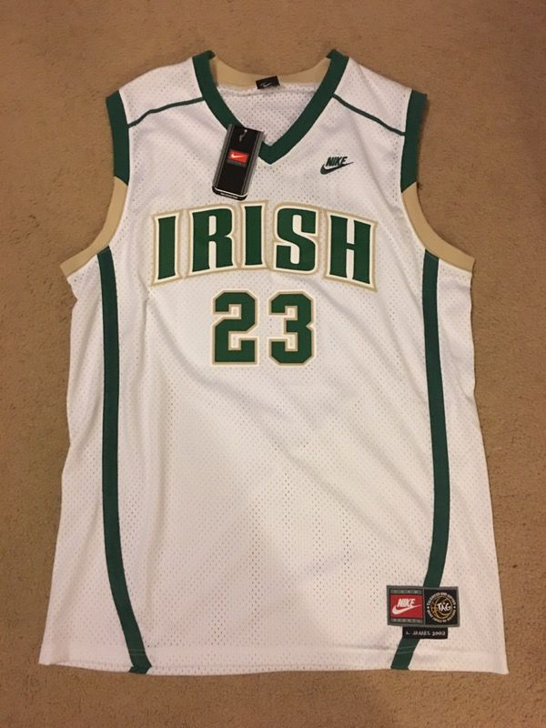 newest 89de7 3c1e5 lebron james irish jersey sale