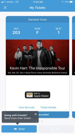 Two Kevin Hart tickets-Saturday @7-$76
