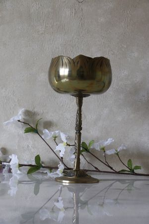 Old brass floral chalice