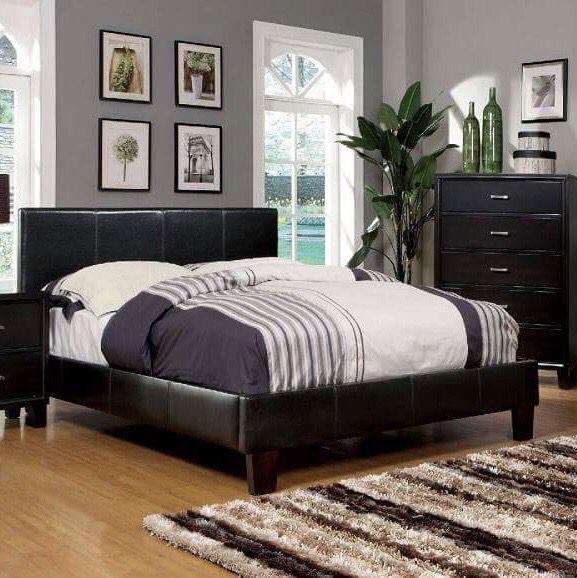Espresso leather platform bed with mattress (prices in description ...