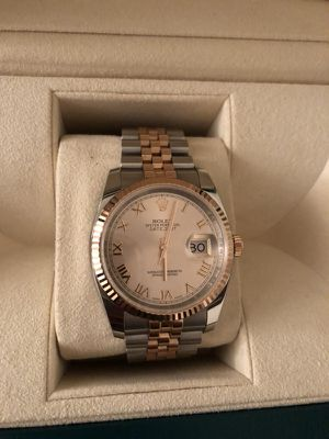 Rolex lady datejust 36mm two tone rose gold pink dial RARE