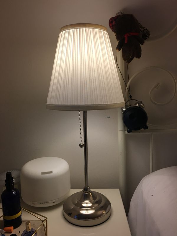 Ikea Arstid Table Lamp White Shade Nickel Plated