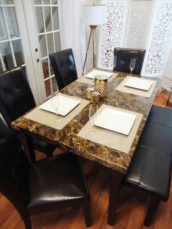 Brown Marble Top Dining Set Room