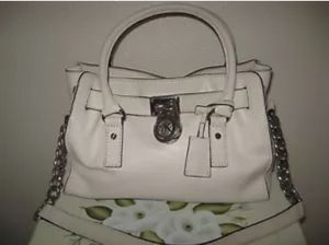 Michael Kors Hamilton Saffiano Leather/Satchel/Purse/Handbag-White
