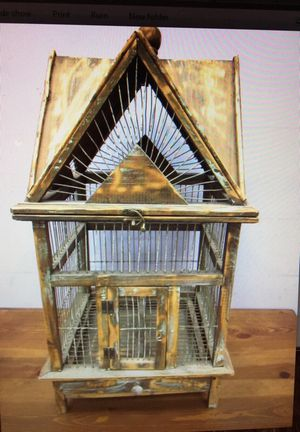Wood bird cage with wire