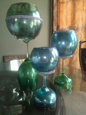 Handcrafted with upcycle glass pieces PRICE IS FIRM CANDLES NOT INCLUDED